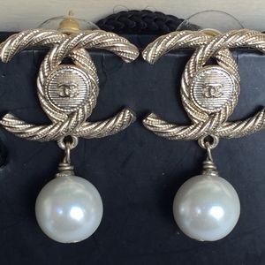 Authentic Chanel Pearl Twist Earrings